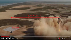 給水塔に翼を付けた感じのスターホッパーが150mの高度に上がった様だが、注目すべきは水平方向に100m程移動した点かも