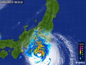 久々の東京直撃コースに乗っている台風15号ファクサイの画像