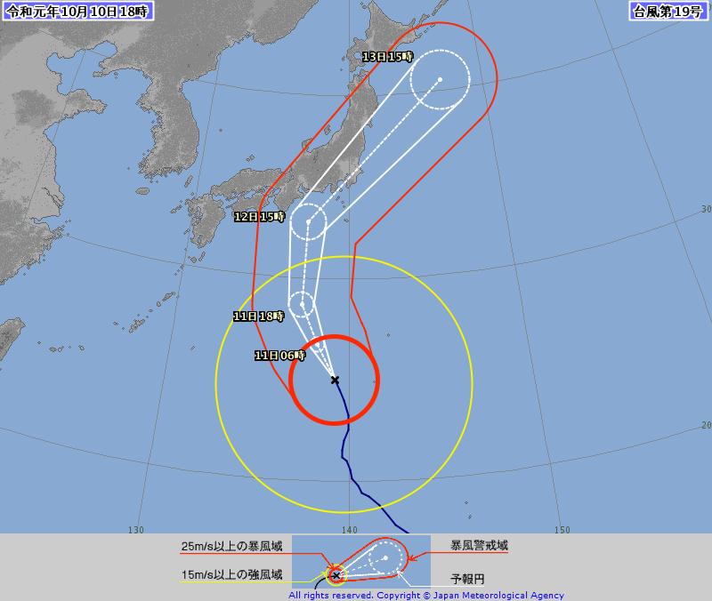 台風19号の影響が気になるけど大圏航路では北朝鮮や北京上空を通過するのがもっと気になる